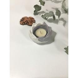 Porta velas flor de loto gris