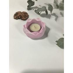 Porta velas flor de loto rosa