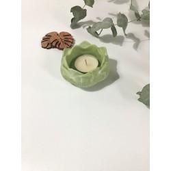 Porta velas flor de loto verde